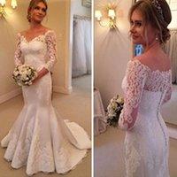 Wholesale Satin Lace Sleeve - 2017 Wedding Dresses Charming Off Shoulder Long Sleeve Mermaid White Satin Lace Wedding Dresses WD0206 wedding dresses