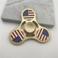 Wholesale National Retail - Metal National Flag Spinners Zinc Alloy Hand Spinner United States Canada Italy India Metal Spinners EDC Decompression Fidget Toy