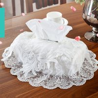 Wholesale Lace Tissue Box Covers - Wholesale- European style Embroidered tissue box cover elegant lace white tissue box towel home decorative textile for wedding living