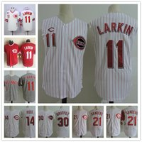 Wholesale Sleeveless Vests - Cincinnati Reds Vest Vintage Jersey #11 Barry Larkin 21 Deion Sanders White pinstripe gray 1990 Throwback 14 30 Stitched sleeveless Jerseys