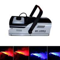 máquinas de humo al por mayor-Máquina multifuncional de humo de niebla de 1500 W con control de cable o control remoto DMX512 Luces de escenario LED DHL envío gratis