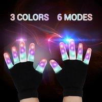 schwarze rave handschuhe großhandel-2017 led flash handschuhe fünf finger licht geist tanz schwarz bar bühne leistung bunte begeisterte licht finger beleuchtung handschuhe glühen blinkende gu