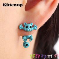 Wholesale Cat Earrings For Girls - Kittenup New Multiple Color Classic Fashion Kitten Animal brincos Jewelry Cute Cat Stud Earrings For Women Girls