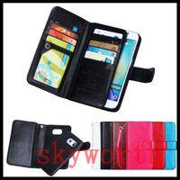 caso magnético desmontable nota al por mayor-Para iphone X XS XR Max 8 Plus Funda de cuero con Samsung Galaxy Note 9 S9 S10 Plus magnética desmontable 9 ranuras para tarjetas