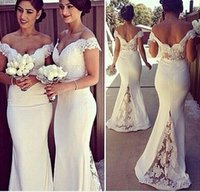 Wholesale Dress Cheap Night Long - Women's dress long section bridesmaid lace stitched trailing evening dress 2017 hot cheap bridesmaid high waist dresses Prom Evening Party
