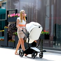 Wholesale Stroller Shock Absorbers - New European Luxury Sit and Lie Baby Stroller High View Prams Folding Poussette Shock Absorbers Baby Carriage