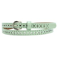 Vente en gros- SAF 2016 NOUVEAU Light Green Charm Pin Buckle Women's Openwork PU Slender Belt