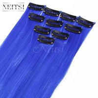 Wholesale Cosplay Blue Hair - Neitsi 18inch 10pcs lot Colorful Synthetic Hair Straight Synthetic Hair Extensions Clip in Hair Cosplay Extensions