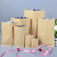 Wholesale Wholesale Foil Bags For Candies - 10*15 cm Food Moisture-proof Bags Kraft Paper with Aluminum Foil Lining Stand UP Pouch Ziplock Packaging Bag for Snack Candy Cookie Baking w