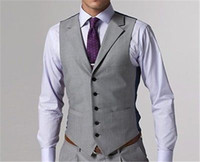 Wholesale Black Waistcoat Lapels - Light Grey Groom Vests for Wedding Guest Custom Made Groomsmen Single Breasted Notched Lapel Wedding Waistcoat New Arrival