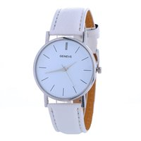 Wholesale Watch Wholesalers China - Simple geneva leather watch unisex mens women ladies silver dial wholesale 2017 china cheap dress students quartz watches