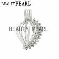 Wholesale Sterling Silver Heart Locket Pendant - Bulk of 3 Pieces Zircon Sparkling Heart Cage Wish Pearl Love Pendant 925 Sterling Silver Heart Cage