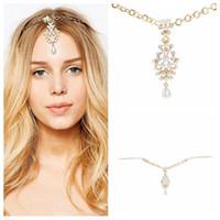 Wholesale hair band silicone - Pearl Tassel Flower Stretch Headband Hair Band Wedding Acessories Crystal Bridal Hair Accessories Head Chain Hair Jewelry