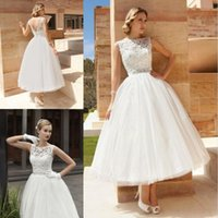 Wholesale Dress Bride Boat - 2017 Vintage Tea Length Wedding Dresses A Line Lace Tulle Short Bridal Gowns Illusion Boat Neck V Back Custom Made Brides Gowns Cheap