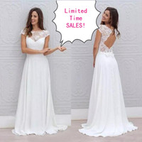 Wholesale Inexpensive Wedding Dresses Sleeves - Inexpensive Lace Chiffon Boho Wedding Dresses 2017 Sheer Neck Capped Short Sleeves Backless Country Beach Bridal Gowns Open Back Design