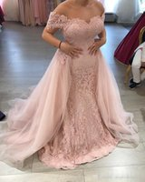Wholesale Tulle Over Chiffon Dresses - Custom Made 2017 Lace Appliques Prom Dresses Off Shoulder Mermaid Evening Dress with Over skirt Long Evening Party Gown