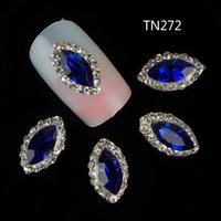 Wholesale Adhesive Rhinestones 3d Stickers - Wholesale- 10pcs 3d nail decorations new arrive blue gem design nail gel sticker adhesive rhinestones for nail manicure styling tools TN272