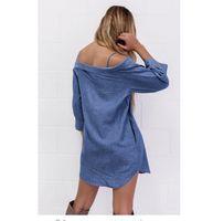 Wholesale Denim Rhinestone Shirt - Cheap autumn and winter new style long sleeve shirt dress LYQ221