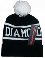 Wholesale Diamond Supply Hats Wholesale - Women Men Knitted Diamond Supply Co Beanie Hip Hop Caps With Ball Fashion Street Warm Sport Letter Caps Hats Skull Caps Xmas Gifts PX-H03