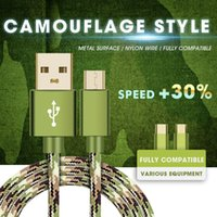 Wholesale Universal Camouflage - Camouflage S8plus Micro USB Cable Braided Nylon Type C Fast Charging Andriod Cable USB Data Charger For Samsung S8 HTC LG