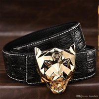 Wholesale Leopard Head Belt - Fashion Popular Belts mens luxury crocodile pattern belt leather cinturones hombre Leopard Head Buckle ceinture male business designer