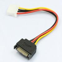cable de alimentación pin molex al por mayor-Al por mayor-1pcs Serial ATA SATA 4 Pin IDE Molex a 15 Pin HDD Adaptador de corriente Cable Nuevo Y Splitter Dual disco duro Cable caliente en todo el mundo