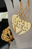 Wholesale Statement Necklace Parts - Factory Fashion heart necklace collares best friends 3 parts pendants necklace Lovers' Collier Bff Statement Necklace selling directly