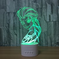 3D Snow Queen LED Ilusão Lâmpada Bluetooth Speaker com 5 luzes RGB TF Card Slot DC 5V USB de carregamento Atacado Dropshipping