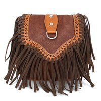 Wholesale Suede Purse Fringe Wholesale - Wholesale- Retro Tassel Saddle Crossbody Bags For Women Faux Suede Vintage Fringe Women Messenger Small Tribal Purse Hippie Sling Handbag