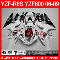 Wholesale Yamaha R6 Body Kit White - 8Gifts 23Color Body For YAMAHA YZF600 YZFR6S 06 07 08 09 57HM18 red white YZF R6 S YZF 600 YZF-R6S YZF R6S 2006 2007 2008 2009 Fairing kit