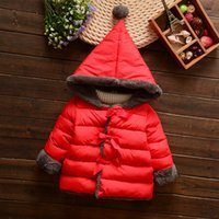 Wholesale Girls Pink Wool Coat - Winter Children Coat Girl Hoodies Jacket Thickend Wool Warm Top Kids Outerwear Pink Red Gray 4 p l