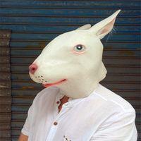 Wholesale Latex Rabbit Mask - Wholesale 2017 New Halloween Party Cosplay Animal Mask Latex Rabbit Mask Bunny Mask Disguises of Rabbits Face Head Masks Free Shipping