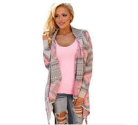 Wholesale Wholesale Long Sleeve Shrugs - Wholesale-Sweater 2016 women cardigan Sweaters poncho collar long sleeve irregular asymmetrical printed loose-fitting shrug coat cardigans