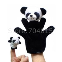 Wholesale Kids Panda Gloves - Wholesale- Animal Soft Plush Panda Glove Big Hand Puppet + Small Finger Puppet Kids Toy