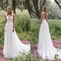 Wholesale Custom Made Wedding Dress Romantic - Limor Rosen 2017 Garden Lace Wedding Dresses Israel Sexy Deep V Neck Backless Sleeveless A Line Sweep Train Romantic Tulle Bridal Gowns