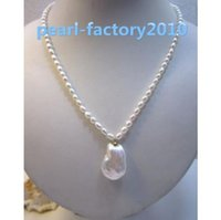 "Wholesale Natural Baroque Pendant - baroque 18"" AAA 21X17 MM SOUTH SEA NATURAL White PEARL NECKLACE 14K GOLD CLASP"
