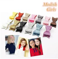 """Wholesale Synthetic Hair Bow Clip - SALE!3.5"""" Modish Girls Glitter Barrettes 2017 Glitter Felt Bow Hair Clips Bowknot Girls Baby Pink headband Synthetic Leather Hairpins 30PCS"""
