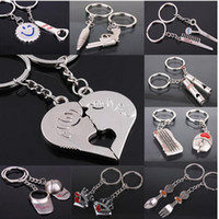 Wholesale Couple Keychain Kiss - DHL 200 styles keychain fashion porte heart kiss love couple Keychain key ring comb hat Scissor whistle Chaveiros
