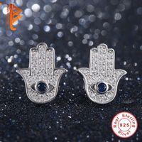 Wholesale Evil Eye Stud - BELAWANG Original 925 Sterling Silver Blue Evil Eye Hamsa Hand Stud Earrings For Women with Clear CZ Crystal Earrings Jewelry Gift