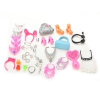 Wholesale Girls Plastic Earrings - 40 Pcs Doll Decor Fashion Jewelry for Barbie Necklace Earring Bowknot Crown Accessory Dolls Girl Kids Gift