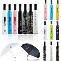 Wholesale Wine Bottle Umbrella Travel Fashion Wine Bottle Folding Sun Rain Umbrella Windproof Sun Shade Umbrella design KKA1285