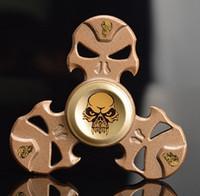 Wholesale bear fingers - Skull Hand Spinner Metal Finger Spinner Tri-spinner Bearing EDC Fidget Toy