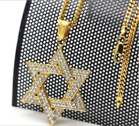Hight qualité Mode MenWomen Inlay strass pendentif satellite hexagram Hiphop déclaration Long collier