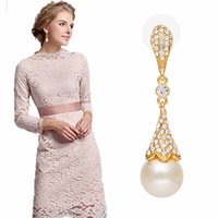 Wholesale Extravagant Gifts - 1pr Extravagant gold Plated imitation peral Crystal Cone type drop earrings For Women party Jewelry present valentine's Day gift