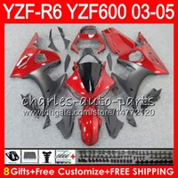 Wholesale r6 body kits - 8Gifts 23Colors Body For YAMAHA YZF600 YZFR6 03 04 05 YZF-R600 56HM6 YZF R 6 YZF 600 YZF-R6 YZF R6 2003 2004 2005 Fairing kit Dark red black