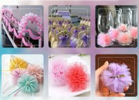 Wholesale Chinese Hair Flowers - high quanlity tulle wedding decorations for table skirt hair flower tulle skirt chair back flower balls