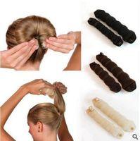 Wholesale Hair Styler Magic Bun - Hot Buns Sponge Hair Styling Donut Bun Maker Magic Former Ring Shaper Styler Tool Hair Roll Snap Wrap Base Accessory