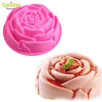 panela de fondant venda por atacado-Delidge 10 pc rose flower molde do bolo de silicone tamanho grande bolo de flores pan chiffon bolo fondant decoração moldes