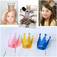 Vente en gros-6pcs / Lot anniversaire Princesse Prince Crown Cap Party Chapeaux Headgear Birthday Party Décorations Enfants Festive Party Supplies
