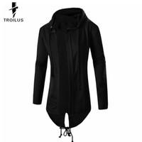 siyah hırka toptan satış-Toptan-Troilus 2016 İlkbahar Sonbahar Marka erkek Kazak Hoodie Erkekler Hood Hırka Mantisler Ön Açılış Yan Siyah Kabanlar Boy